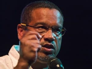 Keith Ellison delivers a victory speech at the Nomad World Pub.
