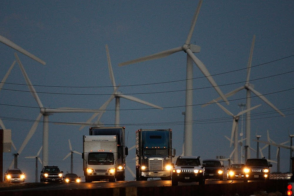 Diesel trucks and windmills