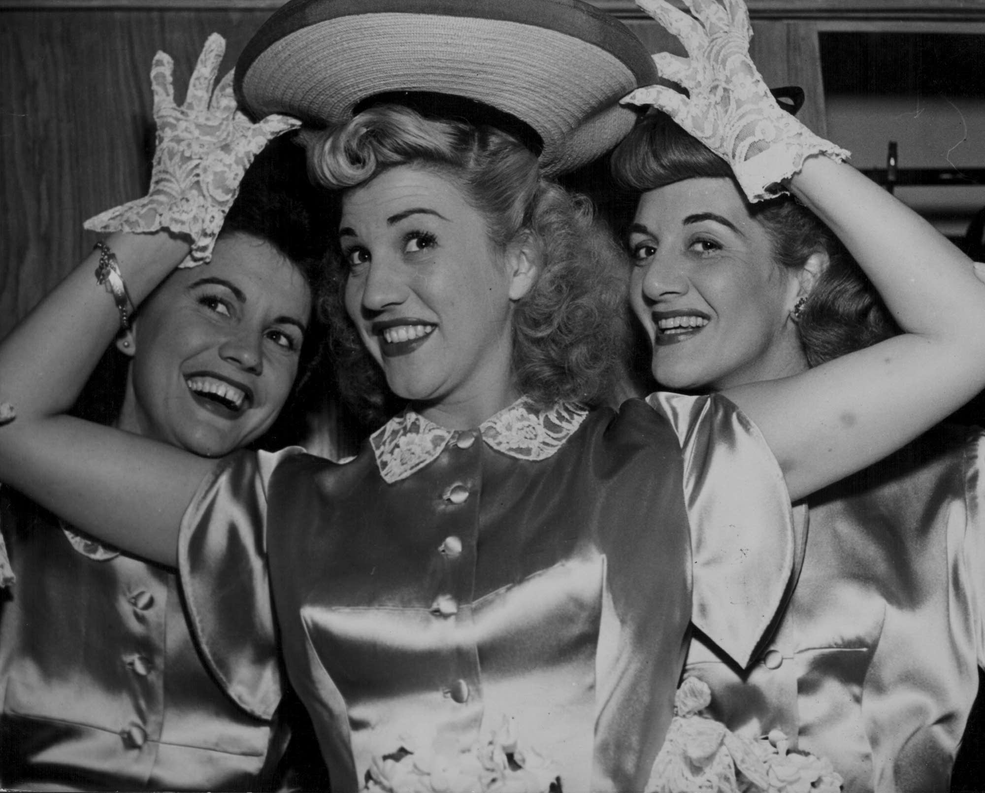 The Andrews Sisters: Maxene, Patty and LaVerne, circa 1940.