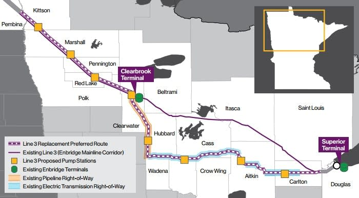 Enbridge's proposed route.
