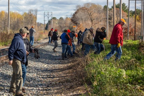 Volunteers make their way in a line across train tracks.