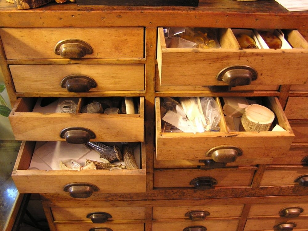 Drawers of raw materials