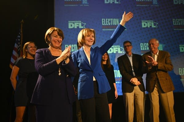 Sen. Amy Klobuchar and Tina Smith acknowledge their supporters.