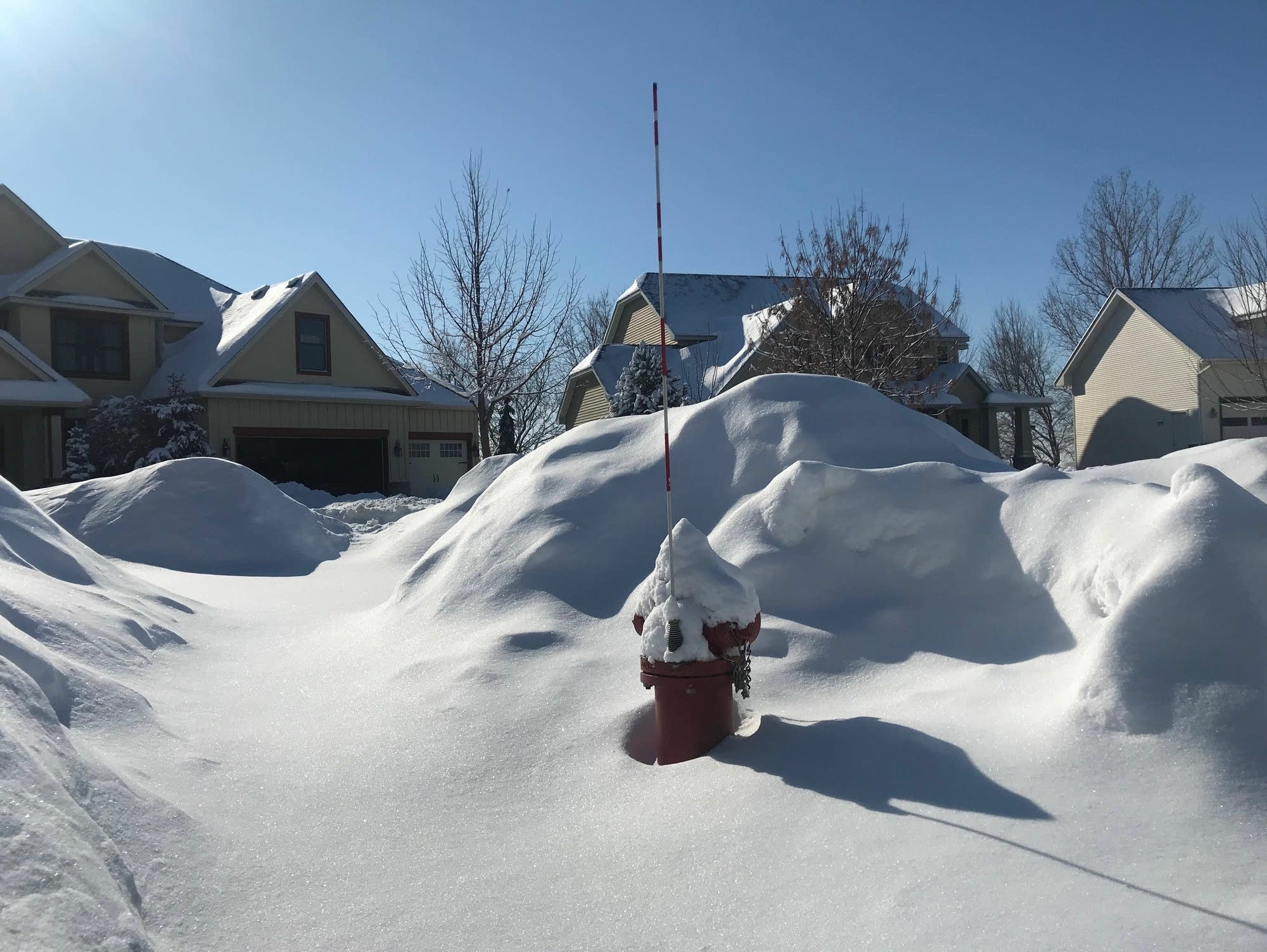 A fire hydrant awaits shoveling out in Chaska
