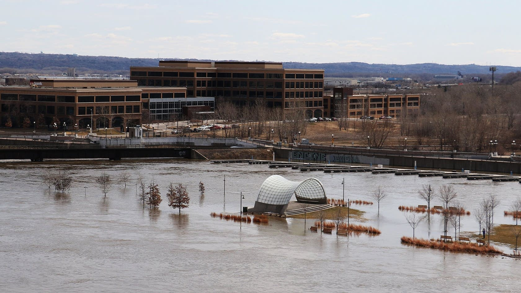 Floodwaters cover much of Raspberry Island
