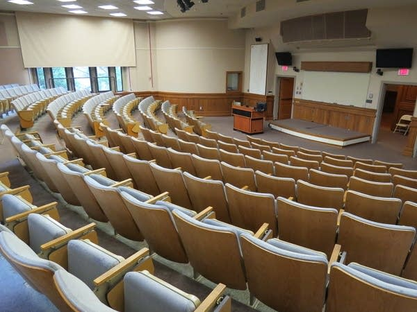 An empty lecture hall.