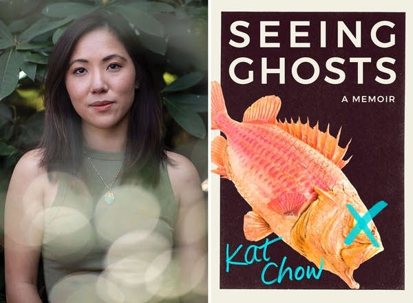 A side-by-side photo of a woman and a book cover.