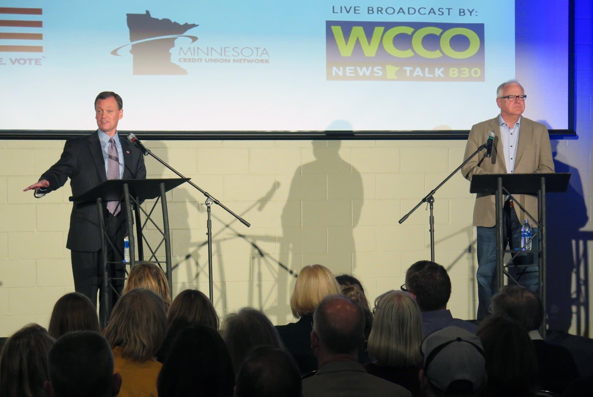 Jeff Johnson and Tim Walz debate in Willmar, Minn.