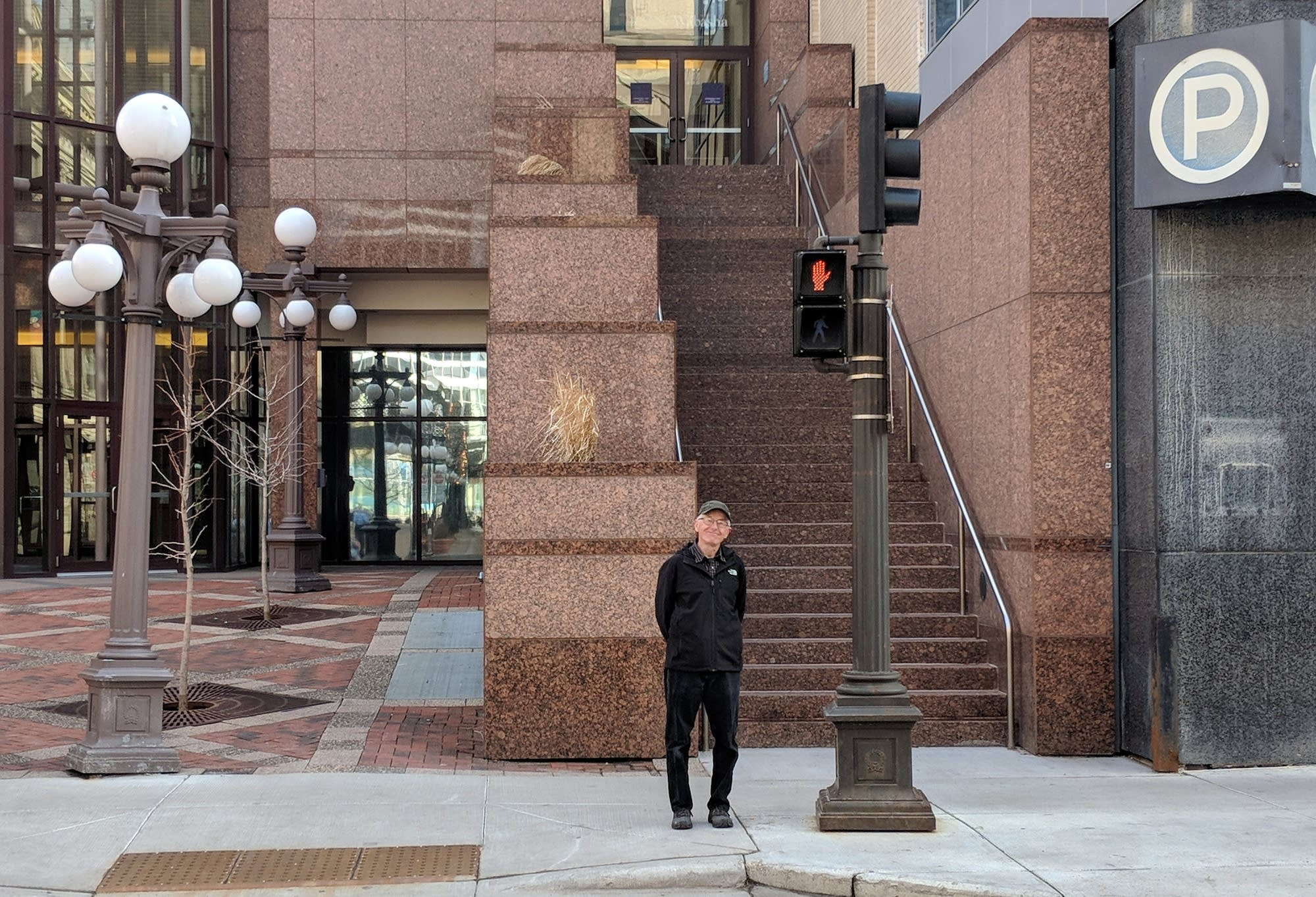 Mathiason stands at the intersection of Wabasha Street and old 7th Street.