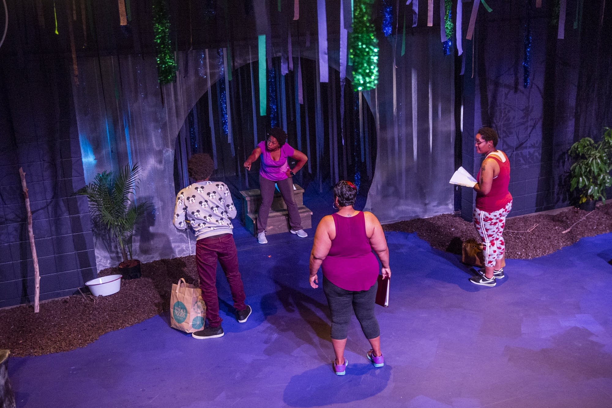 The cast of Black Mermaid rehearses in the Pillsbury House and Theater.