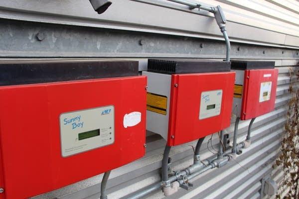 Solar power inverters have gotten much smaller since these were installed.