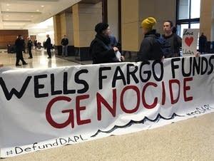 Handful of demonstrators at Wells Fargo in Mpls.