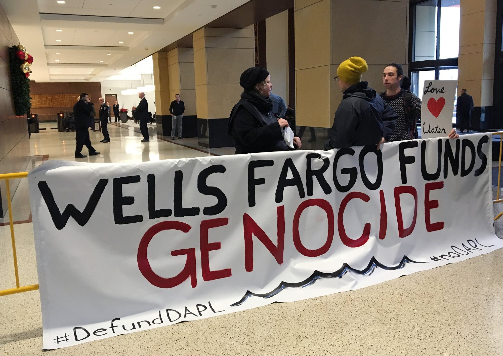 Handful of demonstrators at Wells Fargo in Mpls.