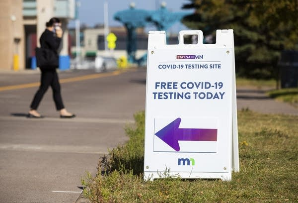 "A sign reads ""Free COVID-19 testing today"""