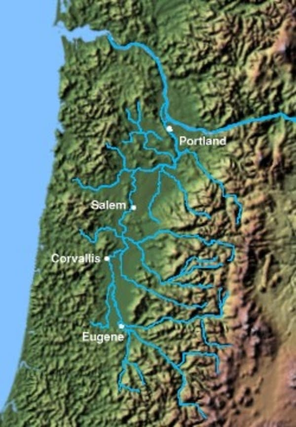 Map of the Willamette Valley