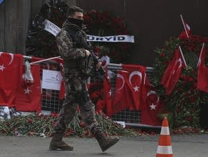 Turkish special security force member patrols