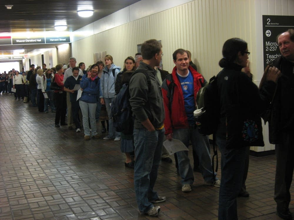 A long line to get a flu shot