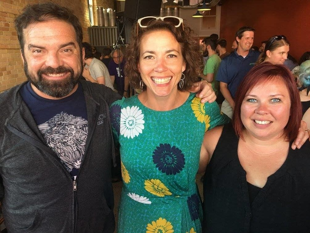 Duluth mayor Emily Larson with Brian Oake and Jill Riley in 2017.