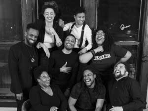 Members of Blackout Improv are photographed at Mixed Blood Theatre.