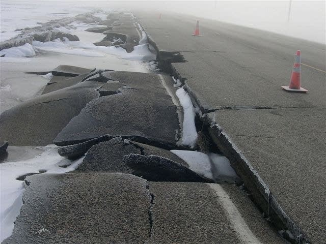 Road damage in Clay County