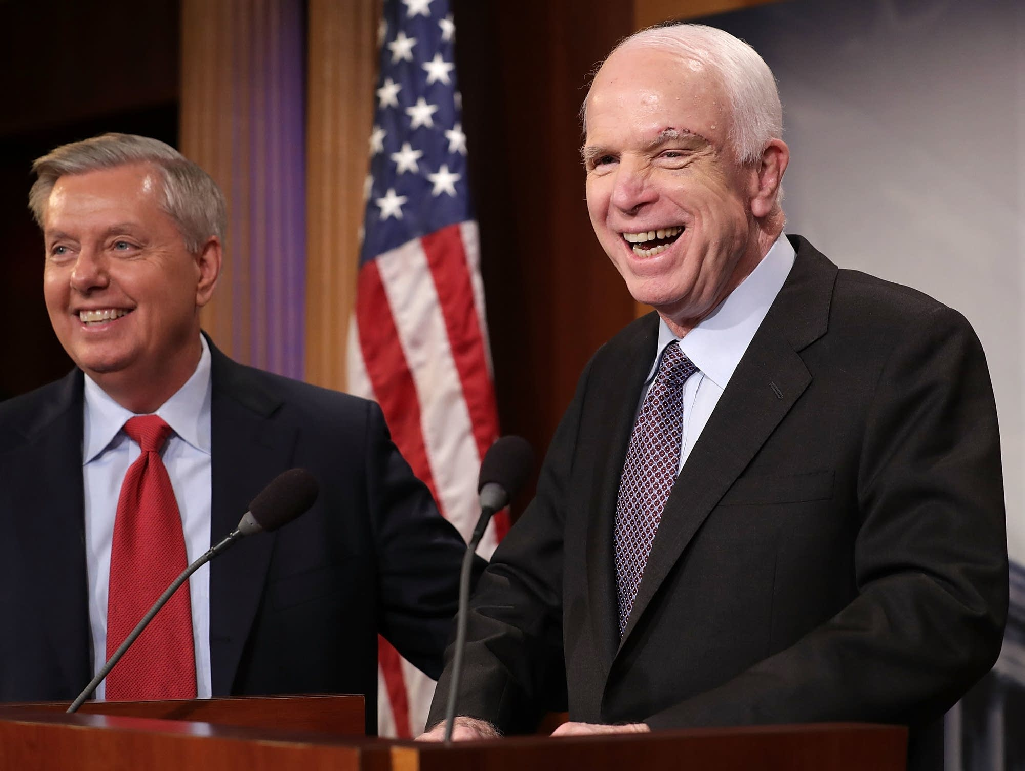John McCain Right And Sen Lindsey Graham Hold A News Conference On Health Care Legislation At The US Capitol July 27 2017 In Washington