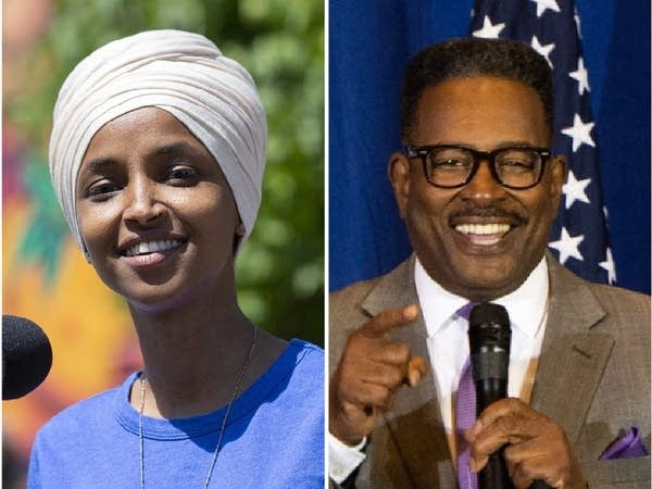 Rep. Ilhan Omar, DFL, and her Republican challenger Lacy Johnson.