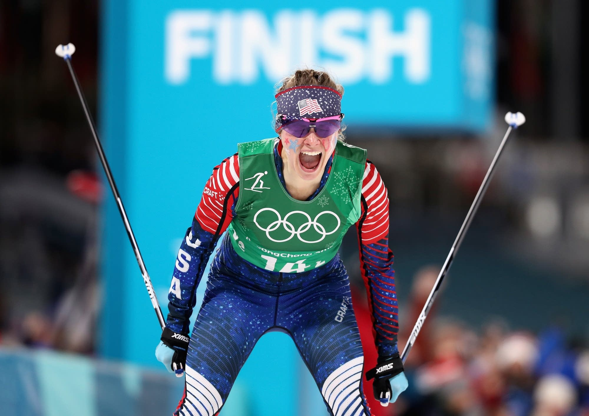 Jessie Diggins of the United States celebrates.