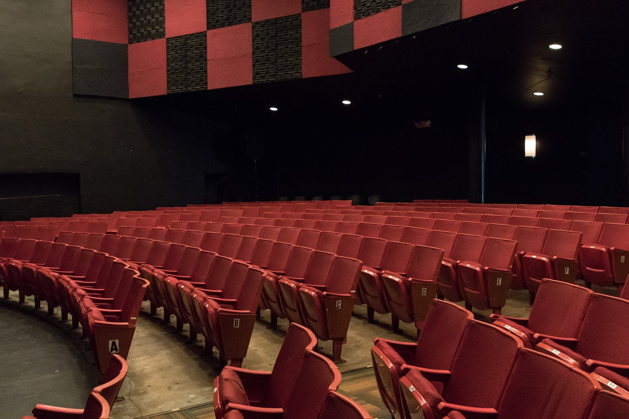 Empty seats await guests during the Capri Theater's open house.