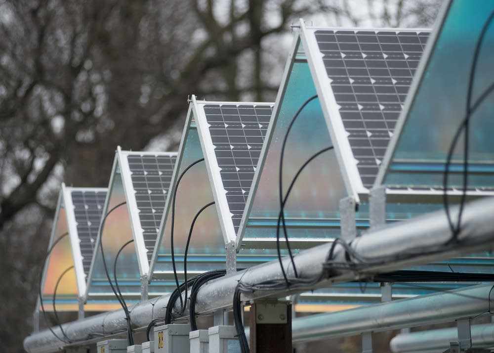 A line of solar arrays