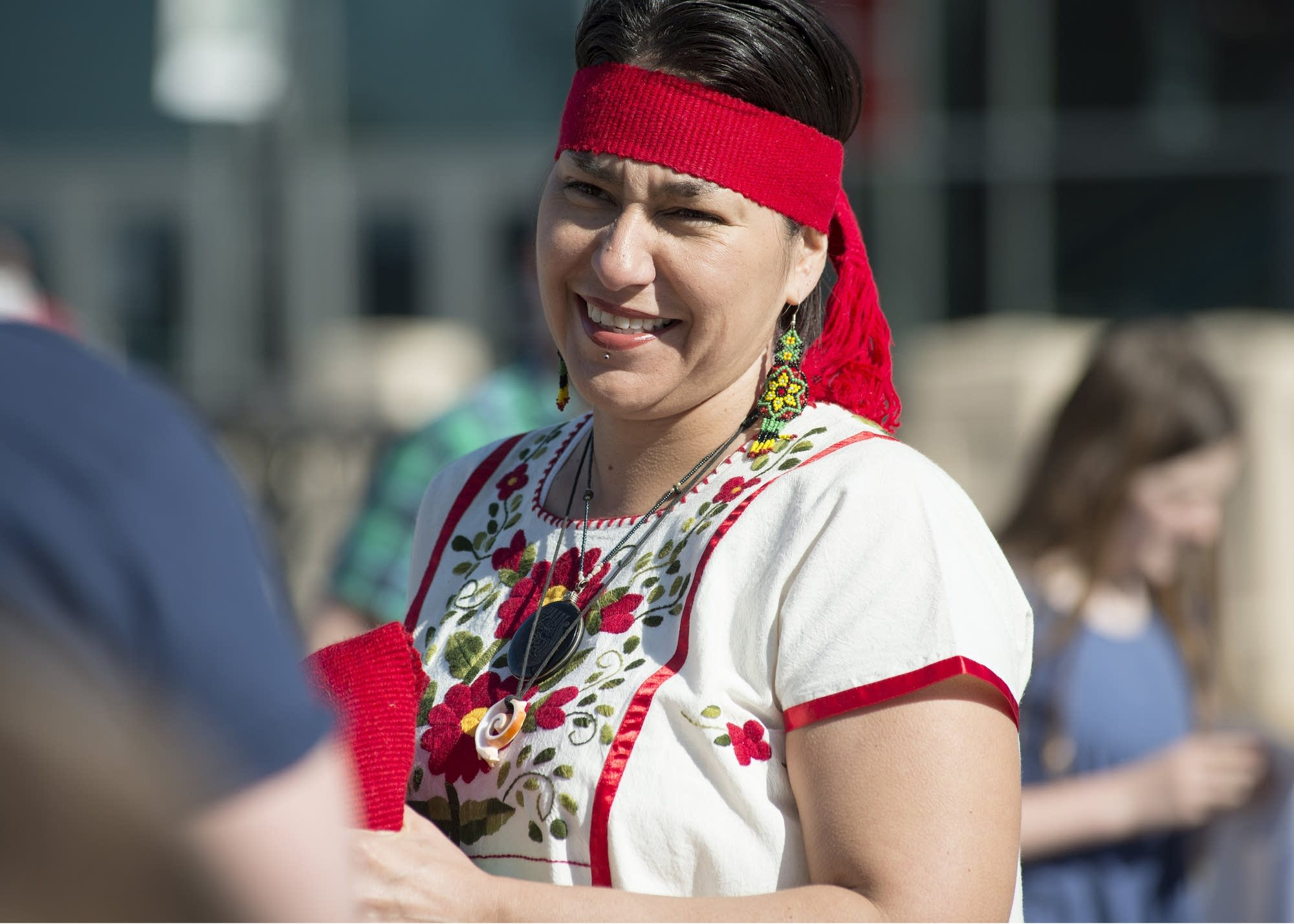 Elle Meza, part of an indigenous people's dance and activism group.