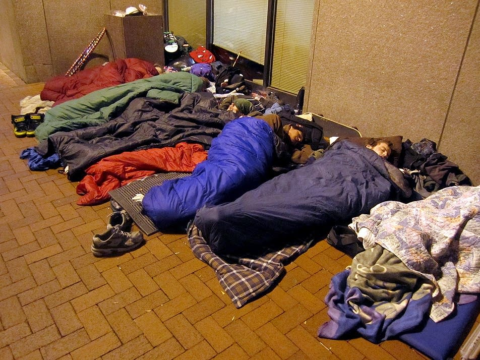 Protesters asleep in downtown Minneapolis