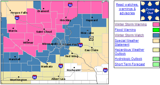 NWS forecast for Twin Cities metro
