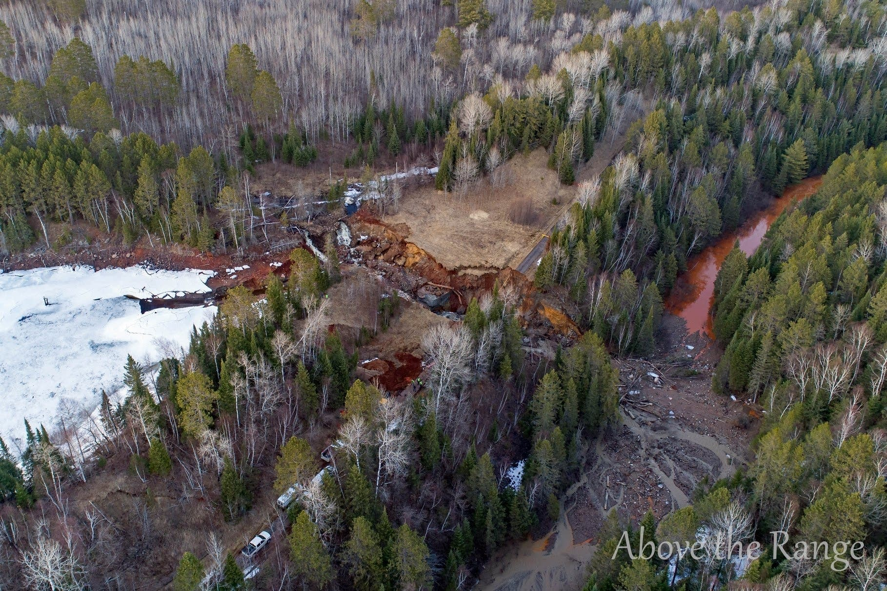 A bird's eye view of the washout near Biwabik on April 24, 2018.