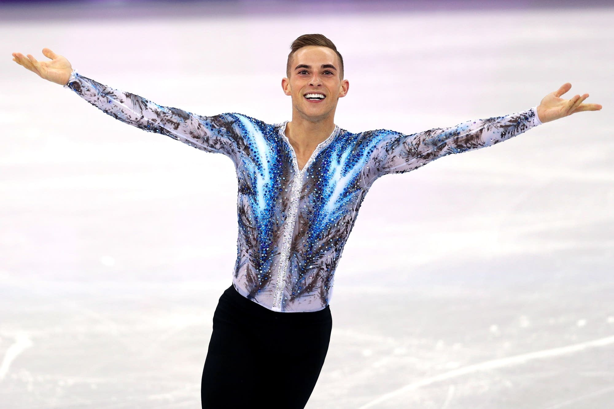 Adam Rippon at the team competition at the Olympics.