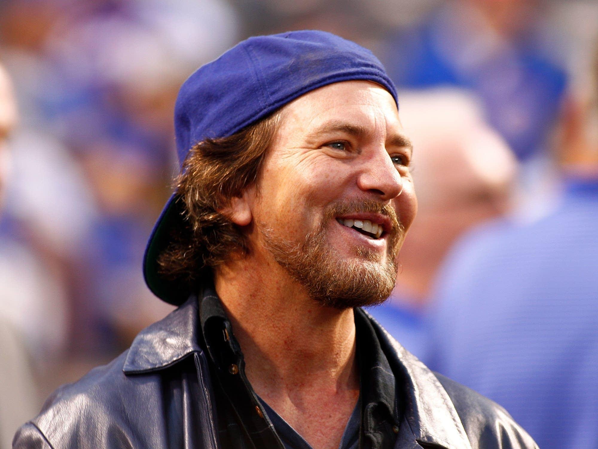 Eddie Vedder at a Cubs game in 2015.