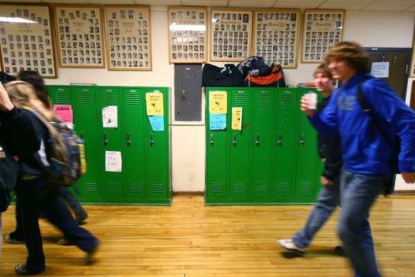 Students walk through halls