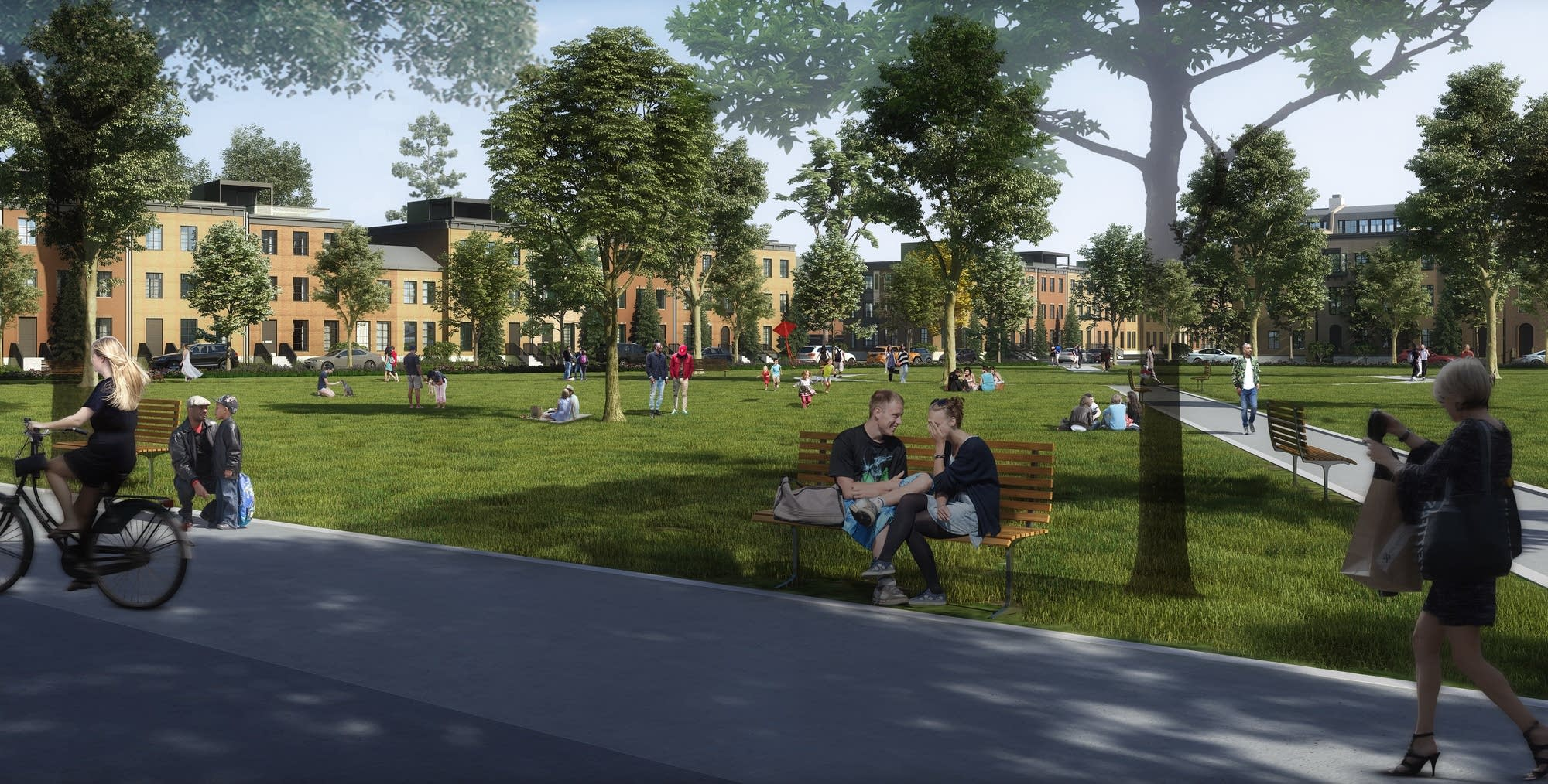 A rendering of Ryan Companies' concept for the Ford Site Master Plan