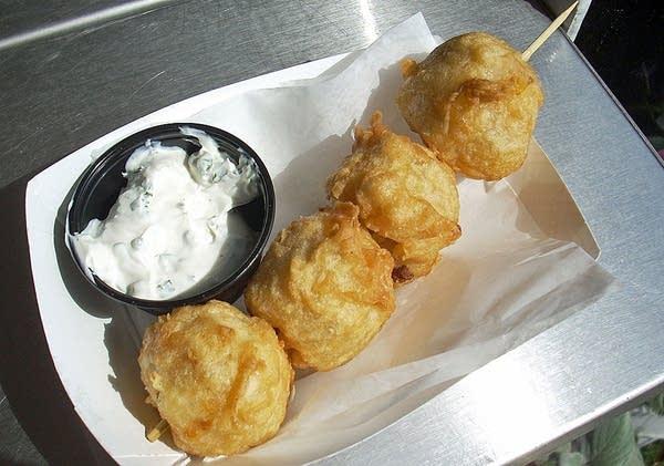 Mashed potatoes on a stick