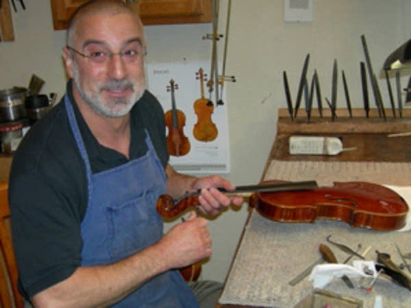 Andy Fein makes a few violins every year.