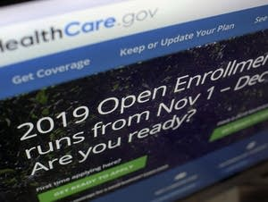 The HealthCare.gov website on a computer screen in New York