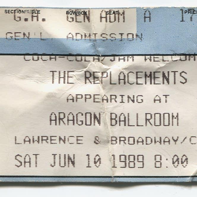 replacements, ticket, aragon ballroom, chicago, 89