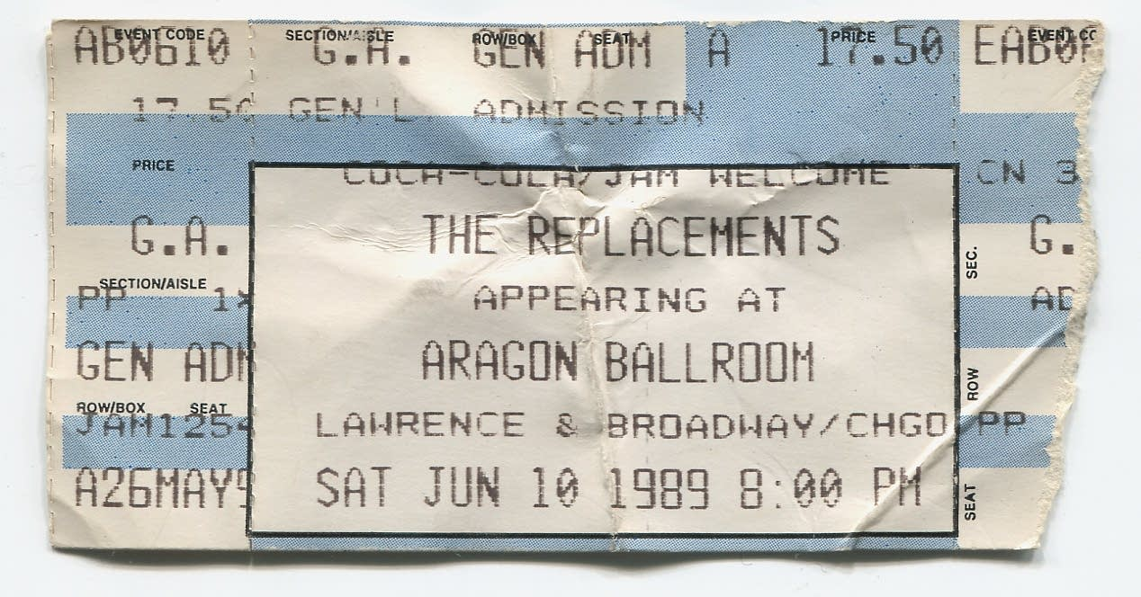 replacements, ticket, aragon ballroom, chicago, 89
