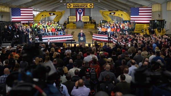 President Donald Trump speaks in Richfield, Ohio