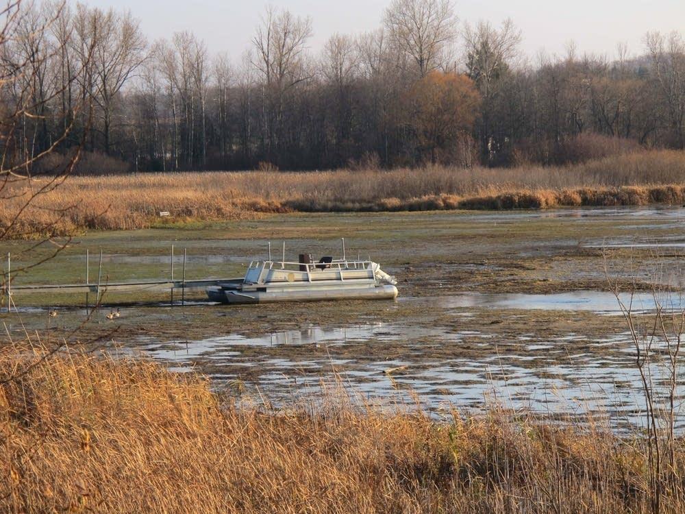 Stranded pontoon boat