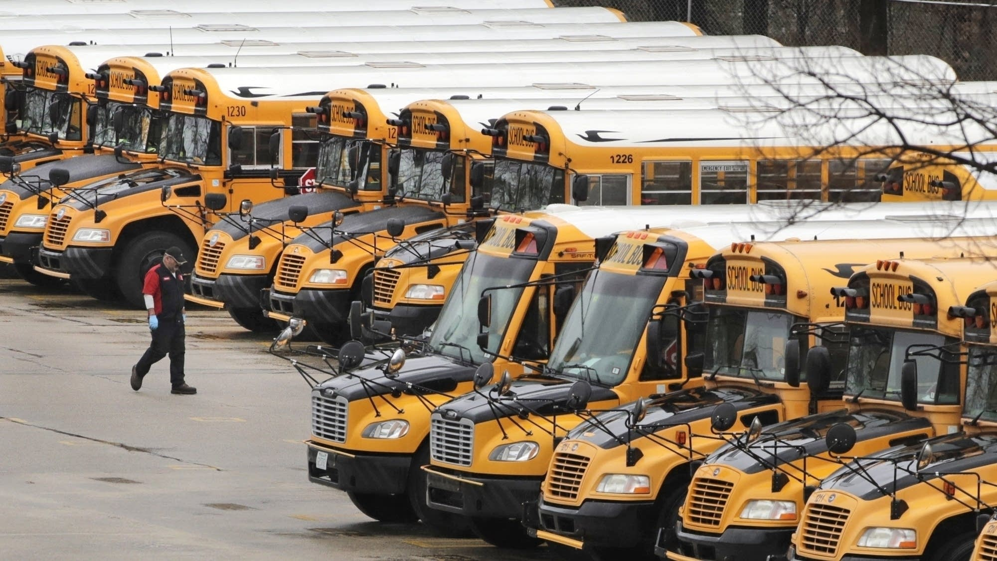 School buses parked at a depot.
