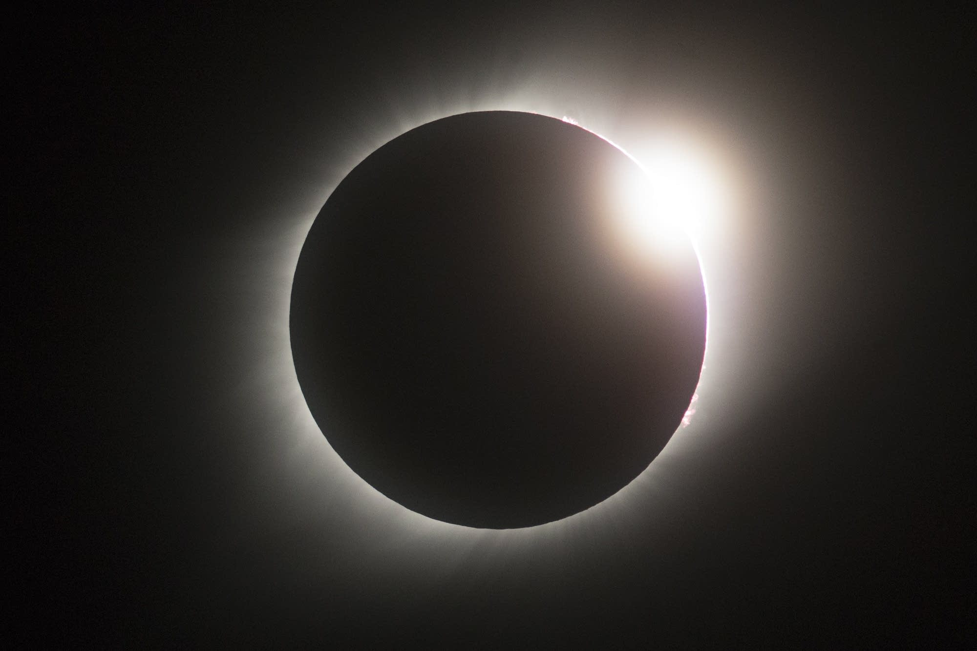 As the end of totality nears, what is called a 'diamond ring' can be seen.
