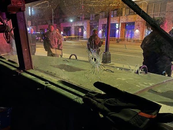 Window damaged by gunfire