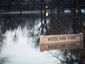 Flood water in a Moorhead, Minn., park