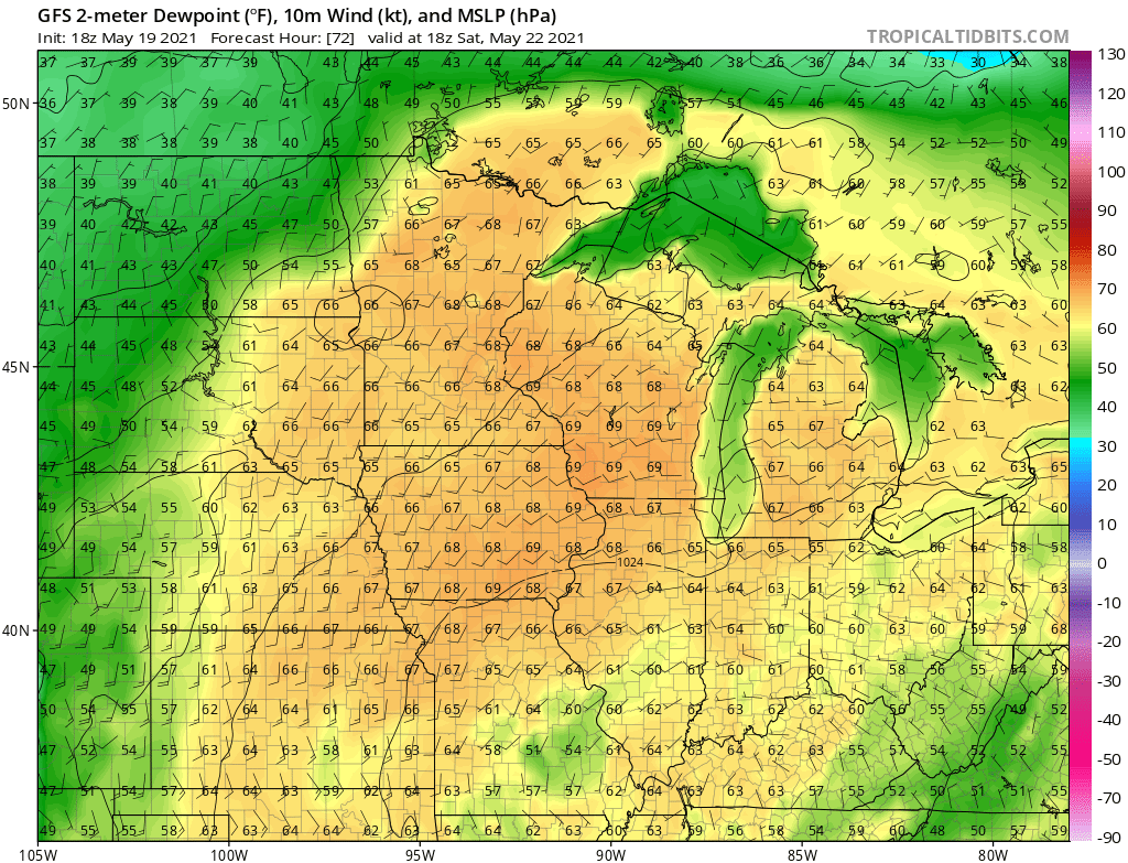 NOAA GFS model Dew point forecast for 7 pm Saturday