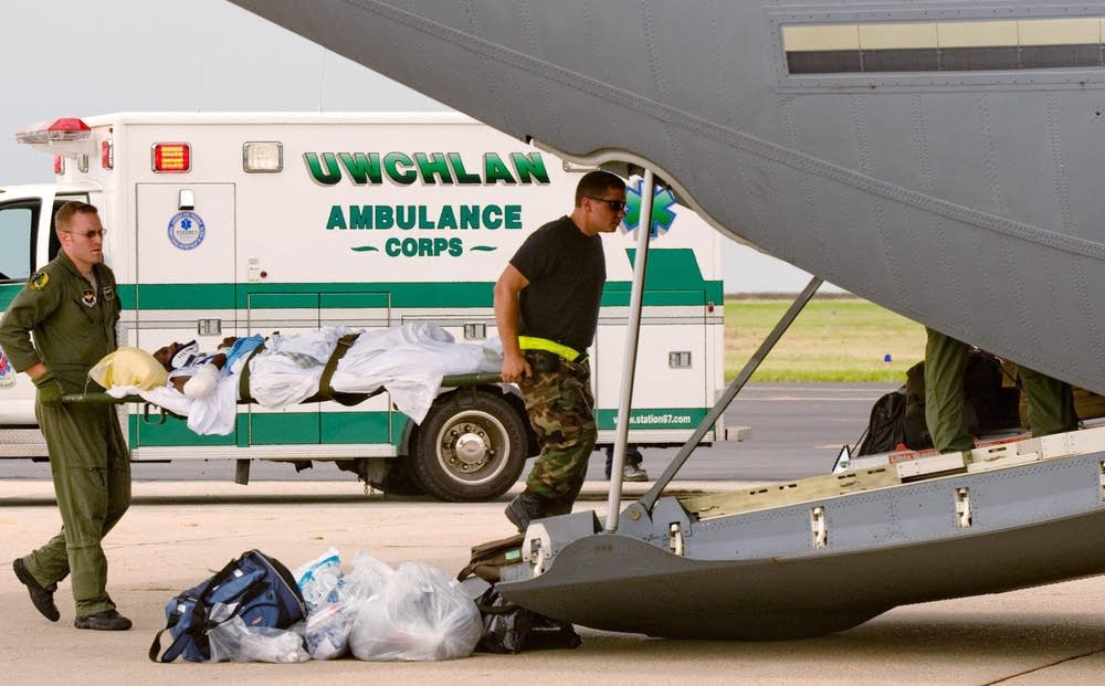 A crew from on a medical evacuation C-17